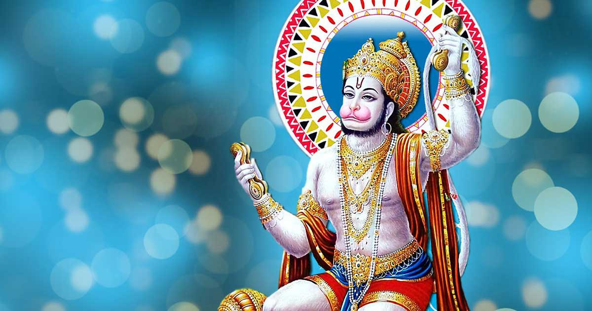 Hindu god Hanuman wears a strand of pearls.