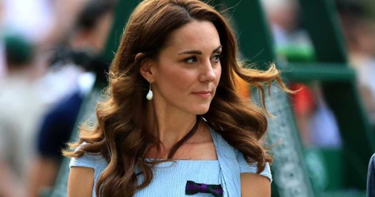 Kate Middleton wearing pearl earrings at Wimbledon 2019.