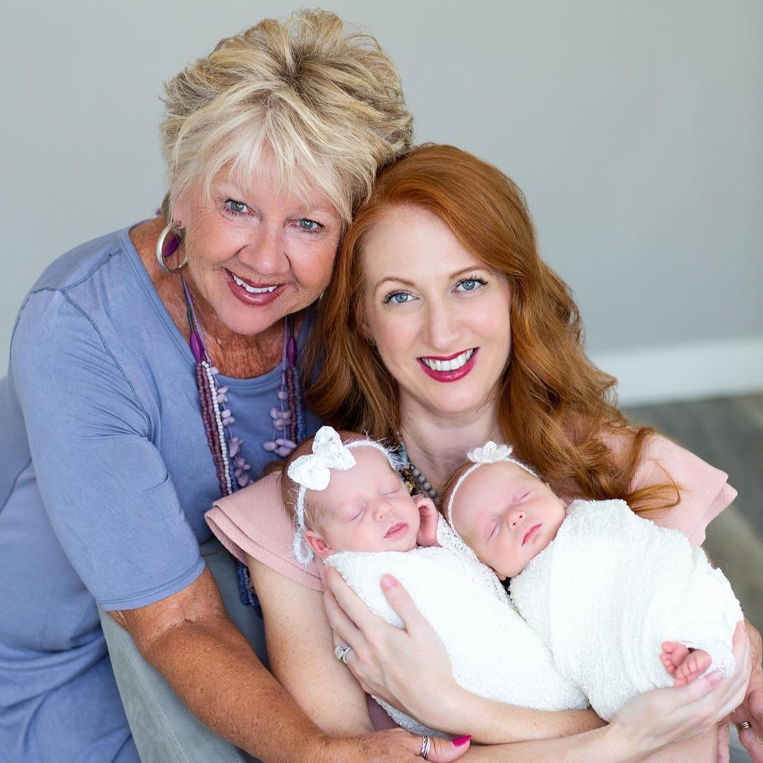 melanie beasley with her daughter and twin granddaughters