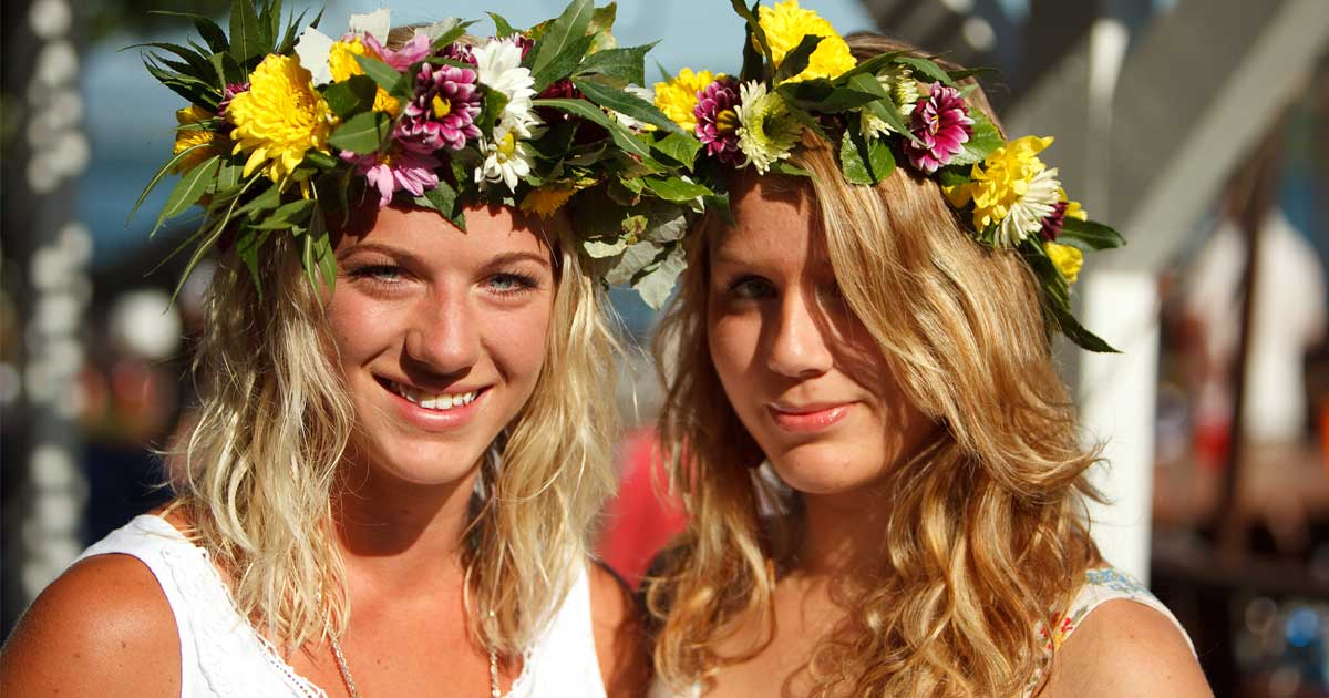 Young women celebrating Midsommar in Sweden