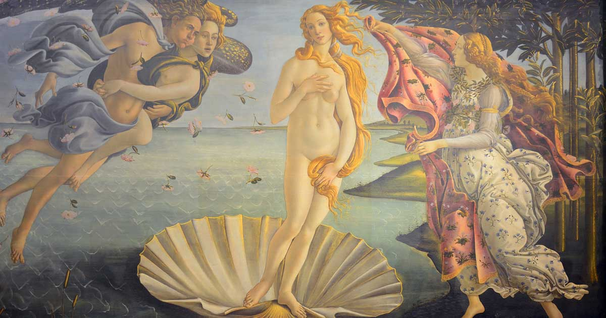 A well-known tempera painting from the late 1400s depicting the goddess Venus on canvas