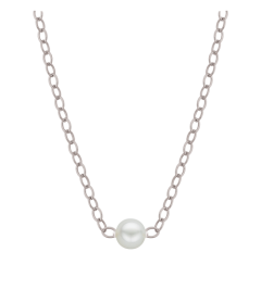 """14K White Gold with (1) 2.7mm pearl E-112 16"""" w/g Natural Necklace"""