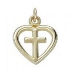 Silver or Gold Heart Cross Charm CH-500-14K Charms, Clasps & Gifts