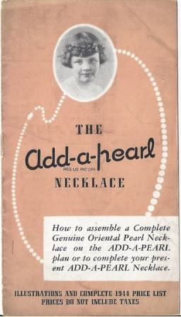 The cover of an Add-A-Pearl pamphlet used by jewelry stores in the 1930s