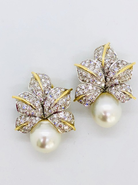 south sea pearl earrings with diamond flower designs