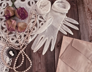 pearl necklace on lace