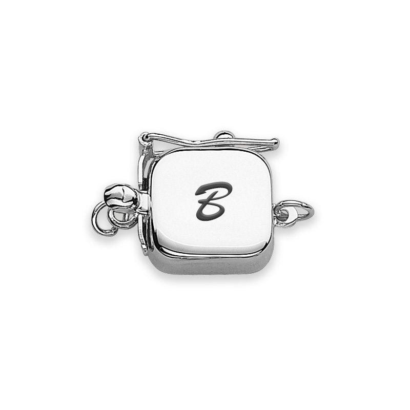 clasp engraved white gold script