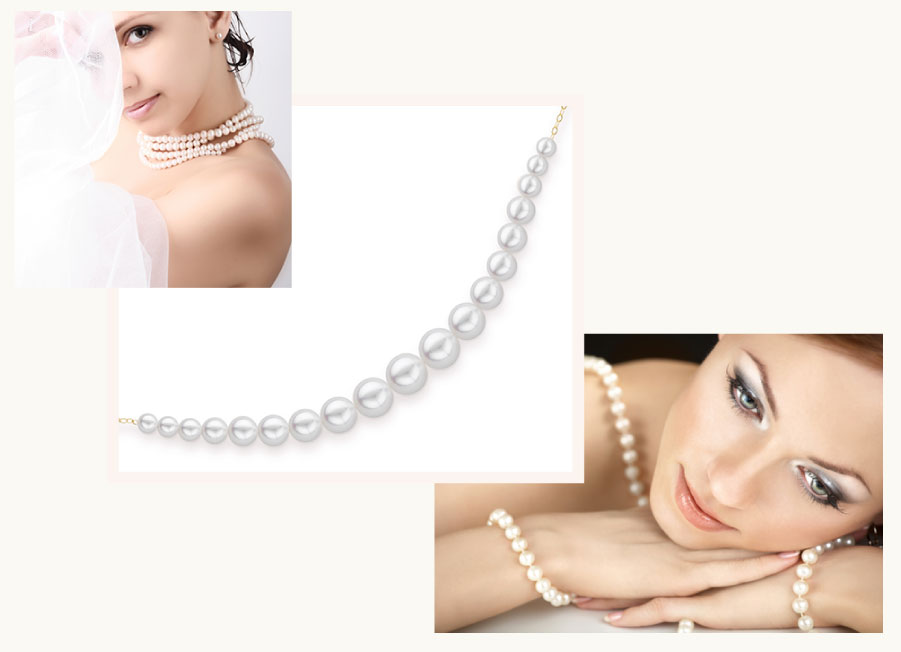 pearl necklace on woman
