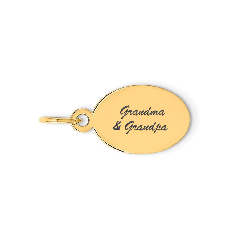 yellow oval script charm