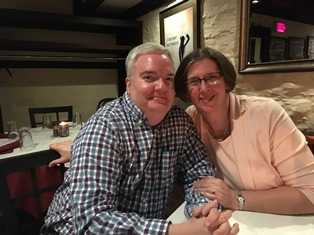 Jim and Barbara celebrate their anniversary at dinner