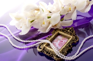 strand of cultured pearls on a purple fabric