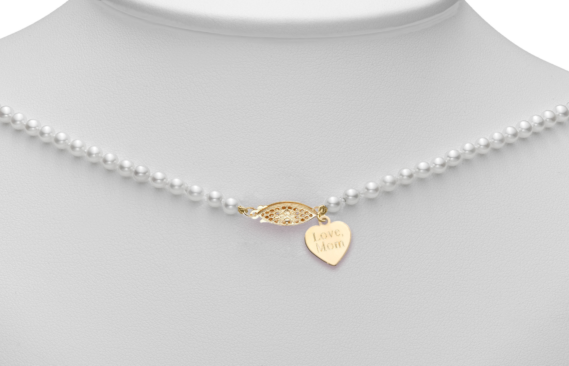 starter necklace with engraved heart charm and filigree clasp