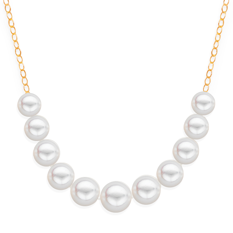 11 pearl graduated necklace yellow gold