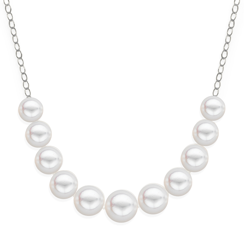 11 pearl graduated necklace white gold