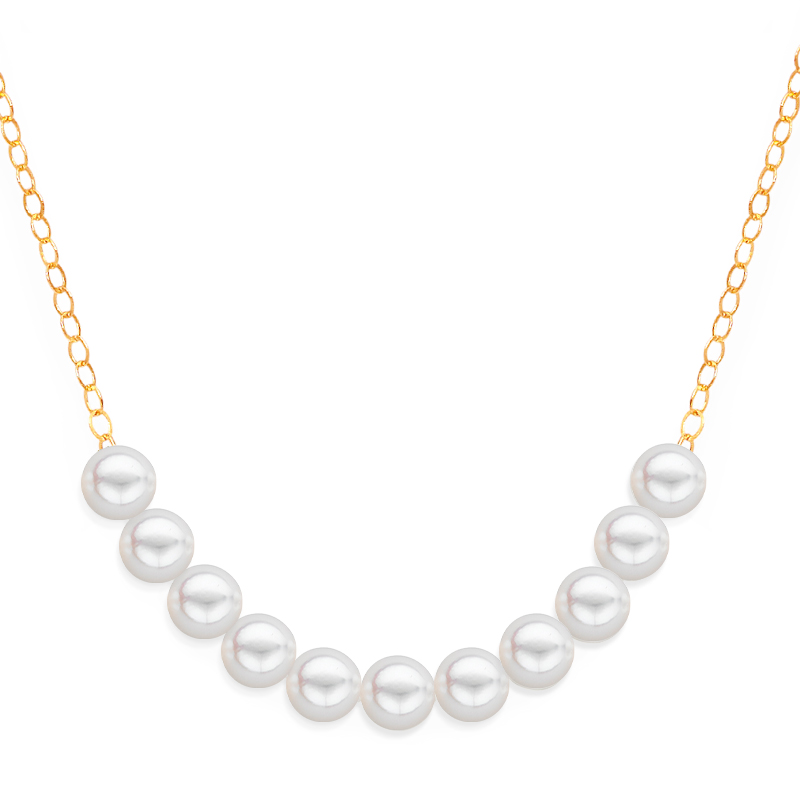 11 pearl uniform necklace yellow gold