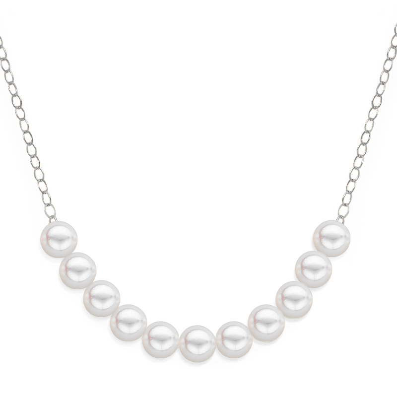 11 pearl uniform necklace white gold