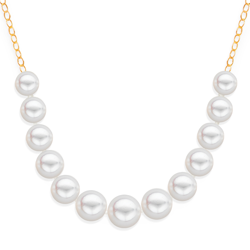 13 pearl graduated necklace yellow gold