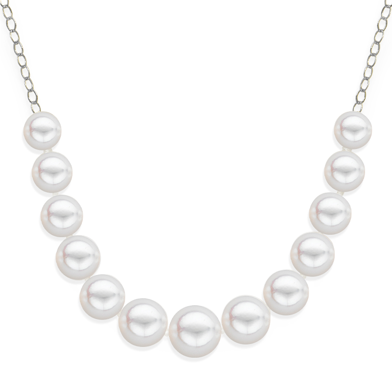 13 pearl graduated necklace white gold