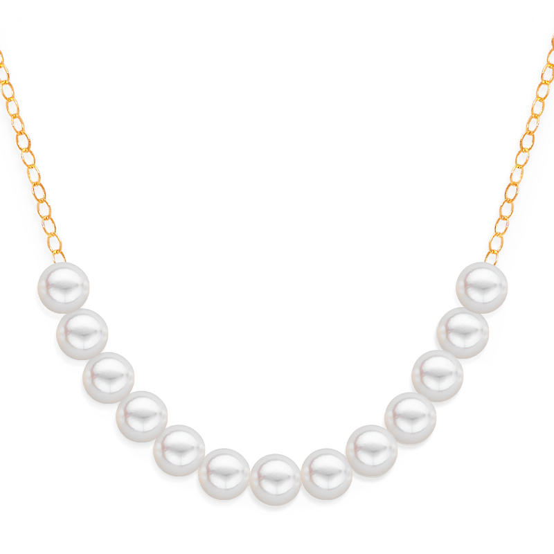 13 pearl uniform necklace yellow gold