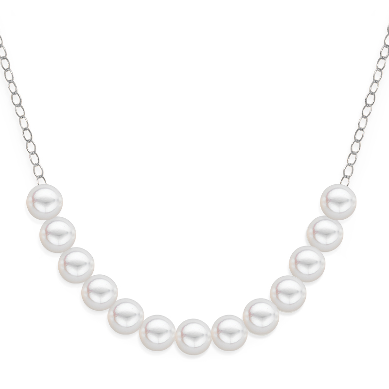 13 pearl uniform necklace white gold