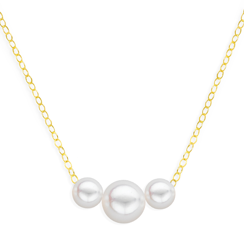 3 pearl graduated necklace yellow gold