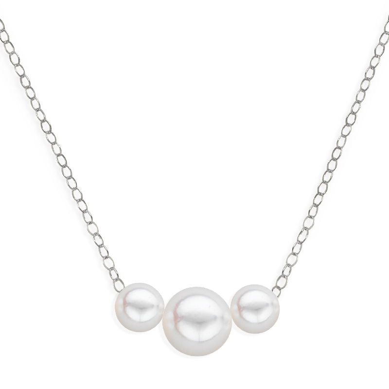 3 pearl graduated necklace white gold