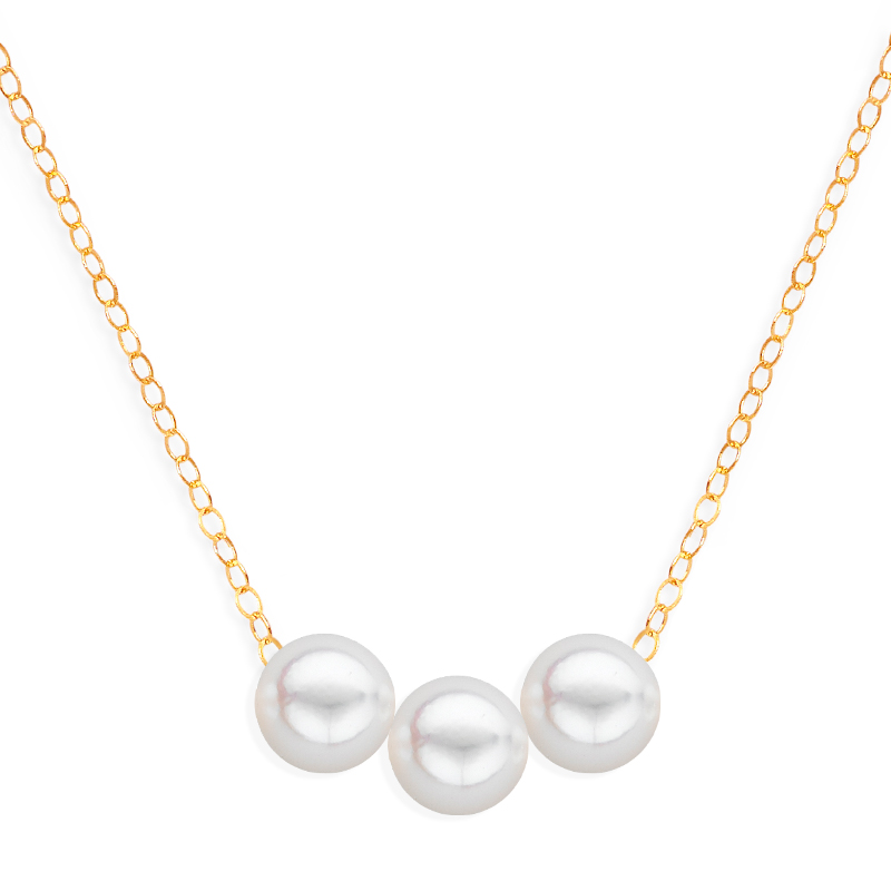 3 pearl uniform necklace yellow gold