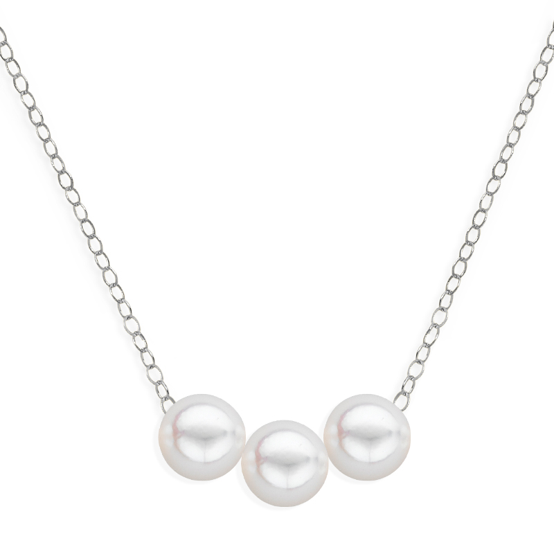 3 pearl uniform necklace white gold