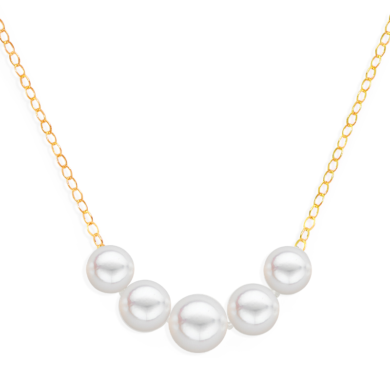 5 pearl graduated necklace yellow gold