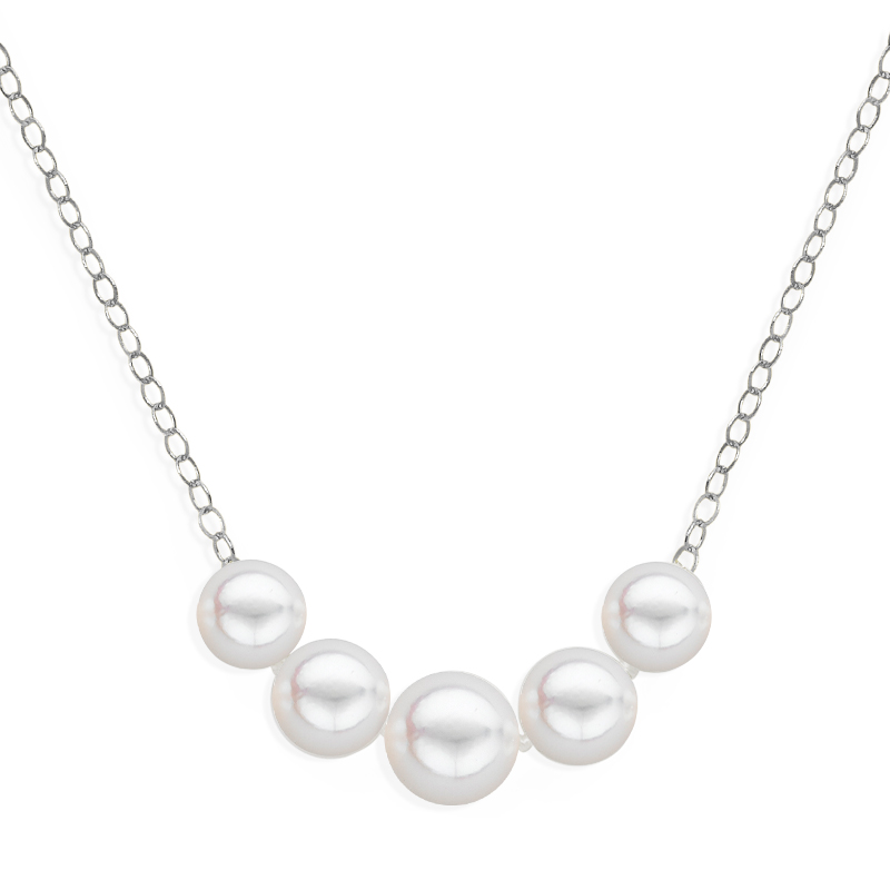 5 pearl graduated necklace white gold