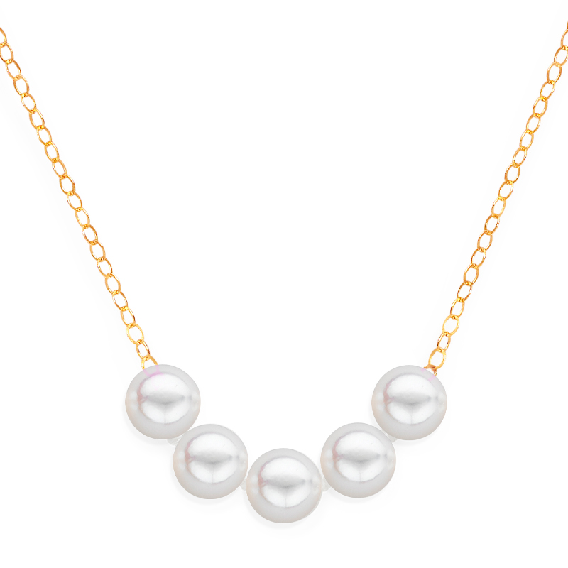 5 pearl uniform necklace yellow gold