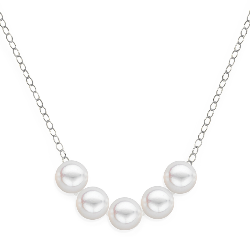 5 pearl uniform necklace white gold
