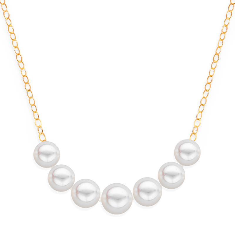 7 pearl graduated necklace yellow gold