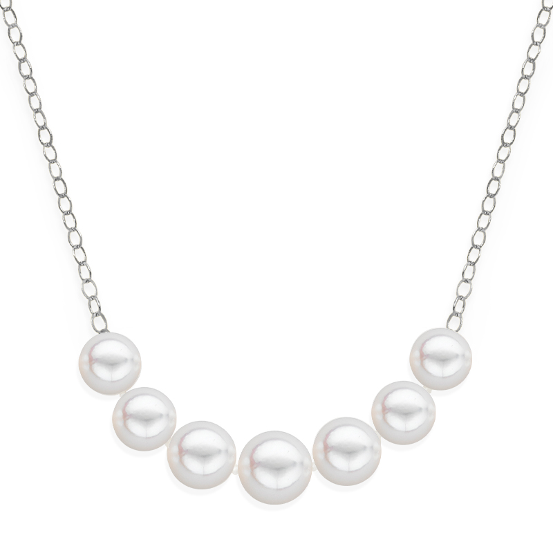 7 pearl graduated necklace white gold
