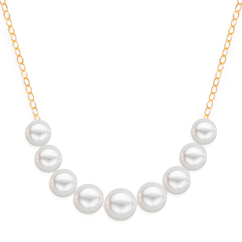9 pearl graduated necklace yellow gold