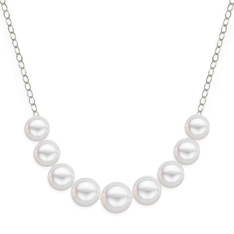 9 pearl graduated necklace white gold